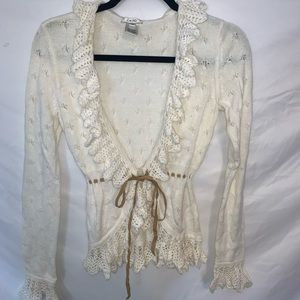 White Cache Crochet Cardigan Size S